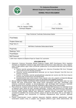 Sözlesme Genel - Çukurova Üniversitesi Bilimsel Araştırma Projeleri