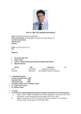 Prof. Dr. Uğur Türe (Anabilim Dalı Başkanı) - Tıp Fakültesi
