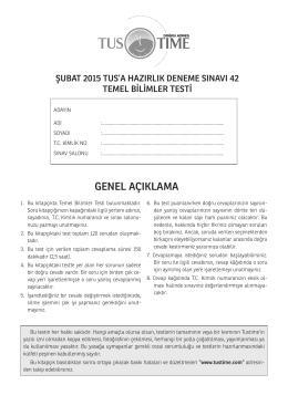 2015 ŞUBAT TUS 42. DENEME SINAVI TEMEL BİLİMLER