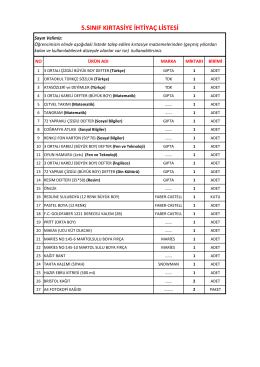 5.sınıf kırtasiye ihtiyaç listesi