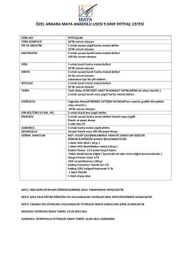 özel ankara maya anadolu lisesi 9.sınıf ihtiyaç listesi