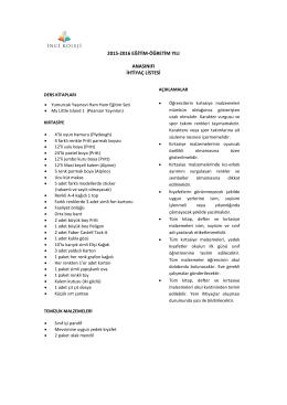 2015-2016 eğitim-öğretim yılı anasınıfı ihtiyaç listesi