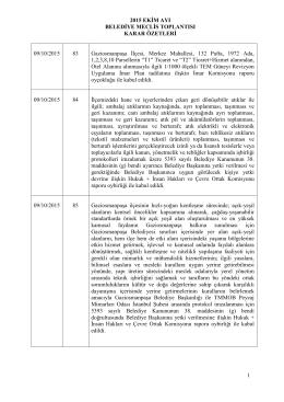 Ekim Ayı Meclis Karar Oezetleri