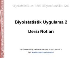 dis_uygulama II - Biyoistatistik ve Tıbbi Bilişim Anabilim Dalı