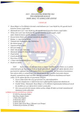 2015 - 2016 eğitim-öğretim yılı ted eskişehir koleji ders araç ve