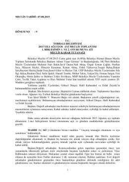 07.08.2015 tarihli meclis kararları