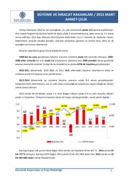 2014 büyüme - 2015 ilk çeyrek ihracat