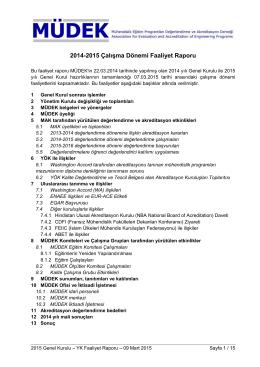 MÜDEK - 2015 Genel Kurulu
