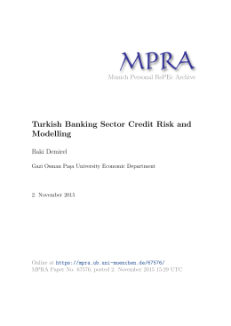 Turkish Banking Sector Credit Risk and Modelling