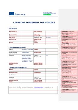 2014-2015 LA doldurulmasına ilişkin açıklama - Erasmus