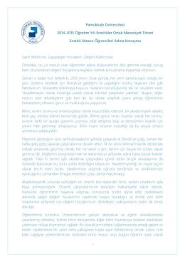 Pamukkale Üniversitesi 2014-2015 Öğretim Yılı