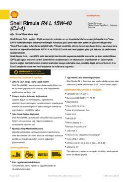 Page 1 Teknik Bilgi Formu Shell Rimula R4 L 15W-40 (CJ
