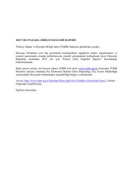 2015 Yılı Pazara Giriş Engelleri Raporu