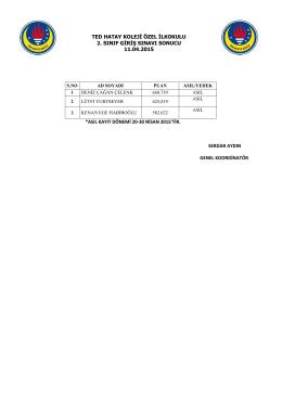 ted hatay koleji özel ilkokulu 2. sınıf giriş sınavı sonucu 11.04.2015