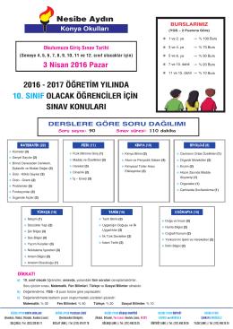 10 sınıf Giriş Sınav Konuları