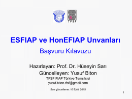 ESFIAP ve HonEFIAP Unvanları
