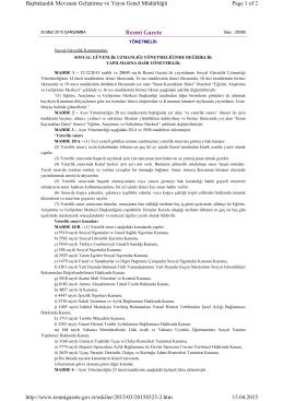 Resmî Gazete Page 1 of 2 Başbakanlık Mevzuatı Geliştirme ve