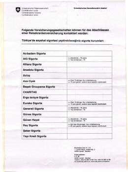 İsviçre Geçerli Sigorta Şirketleri Listesi