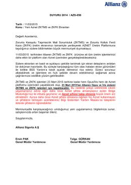 DUYURU 2014 / AZS-056 Tarih : 11/03/2015 Konu : Yeni Aznet