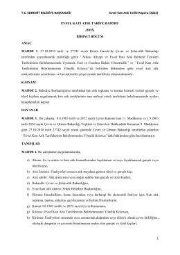 TC EDREMİT BELEDİYE BAŞKANLIĞI Evsel Katı Atık Tarife Raporu