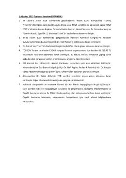 1 Ağustos 2015 Toplantı Kararları