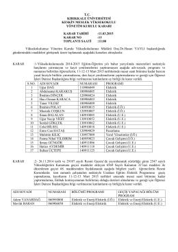 11.03.2015 Tarihli Yönetim Kurulu Kararı