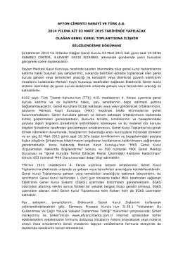 2014 Genel Kurul Bilgilendirme Dökümanı