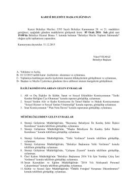 Ocak 2016 Meclis Gündemi