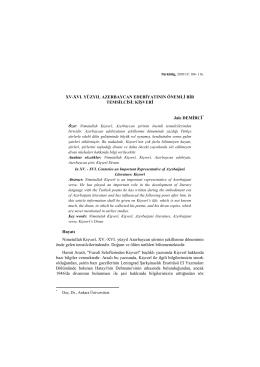 XV-XVI. YÜZYIL AZERBAYCAN EDEBİYATININ ÖNEMLİ