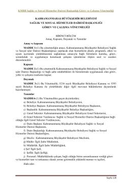 KMBB Sağlık ve Sosyal Hizmetler Dairesi Başkanlığı Görev ve
