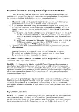 Hacettepe Üniversitesi Psikoloji Bölümü Öğrencilerinin Dikkatine