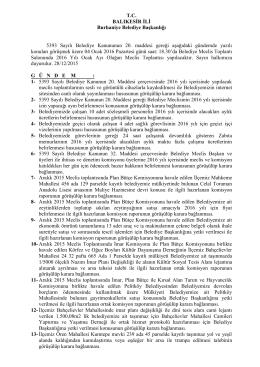 T.C. BALIKESİR İLİ Burhaniye Belediye Başkanlığı 5393 Sayılı