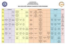 2015-2016 güz dönemi lisansüstü ders rogramı