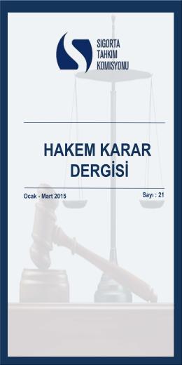Mart 2015 tarihli Hakem Karar Dergisini