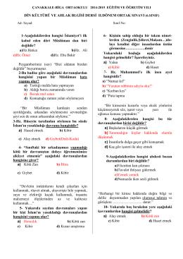 ÇANAKKALE-BİGA ORTAOKULU DİN KÜLTÜRÜ ve AHLAK BİLGİSİ 2