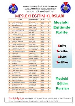 mesleki eğitim kursları - Kahramanmaraş Sütçü İmam Üniversitesi