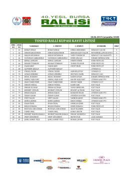 tosfed ralli kupası kayıt listesi