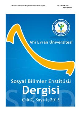 Cilt 2, Sayı 1, 2015 - Ahi Evran Üniversitesi Sosyal Bilimler Enstitüsü