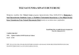 TEZ SAVUNMA SINAVI DUYURUSU - Erciyes Üniversitesi Eğitim