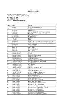PRODUCTION LIST SMS SAVUNMA SANAYİ LTD.ŞTİ 10046 SK