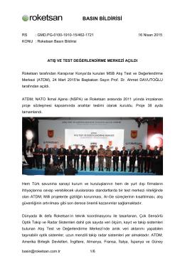 Roketsan Basın Bildirisi 16 Nisan 2015
