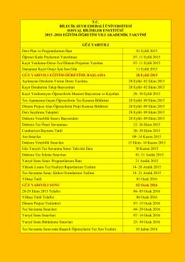 2015-2016 eğitim öğretim yılı akademik takvimi