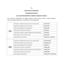 tc abdullah gül üniversitesi fen bilimleri enstitüsü 2015