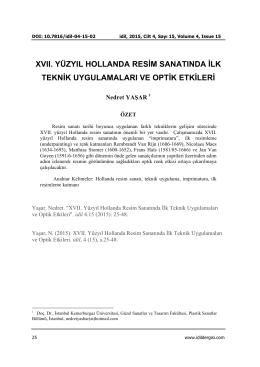XVII. YÜZYIL HOLLANDA RESİM SANATINDA İLK TEKNİK