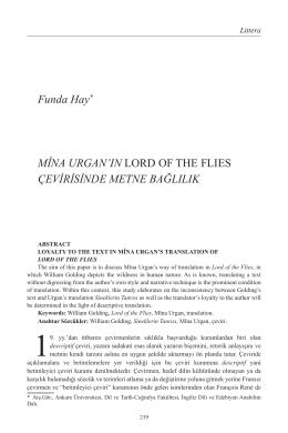Funda Hay Mina Urgan`ın Lord of the Flies Çevirisinde Bağlılık