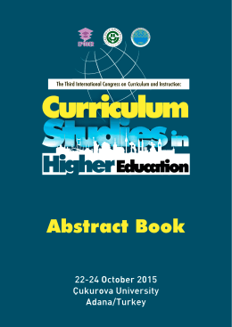 Abstract Book - Curriculum Studies in Higher Education Adana, Turkey
