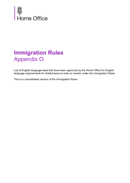 Immigration Rules Appendix O