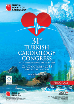 PROGRAM 31st TURKISH CARDIOLOGY CONGRESS