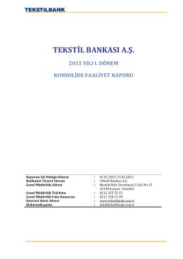 1- Tekstilbank Konsolide Faaliyet Raporu 03 2015
