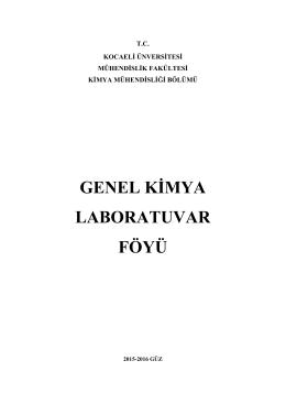 DENEY 3 - Kocaeli Üniversitesi Kimya Mühendisliği Bölümü